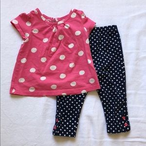 Gap polka dot outfit shirt and leggings
